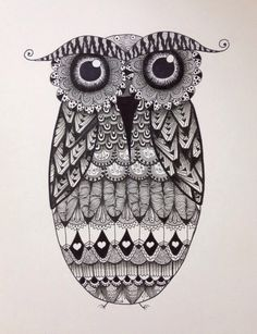 貓頭鷹 Zentangle Owl