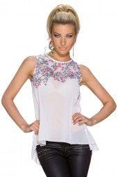 Bluse Tunika Top Krepp Gewebe mit Blumen Print, weiss