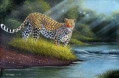 By the Stream at Dawn by Geoffrey Mugwe of Nairobi, Kenya Kenyan Artists, Pumas, African Art, Big Cats, Lions, Nairobi, Tigers, Dawn, Bob