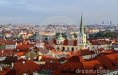 Top view on the panorama of the Old Town of Prague red tile roofs.