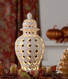 H208925 Illuminated Porcelain Urn (pictured in ivory) includes a timer function .http://qvc.co/-Shop-ValerieParrHill