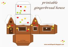 FREE printable gingerbread house  #paper #house