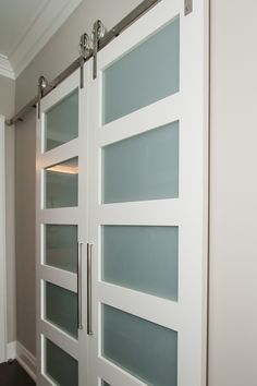 French barn doors with satin nickel hardware Custom Interior Doors, Barn Doors, Contemporary, Modern, Bathroom Medicine Cabinet, Hardware, Satin, French, Projects