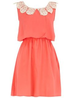 Detailed dresses   Dorothy Perkins Coral Crochet Detailed Dress   OMG buy me THIS
