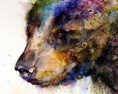 BLACK BEAR Watercolor Print By Dean Crouser.  via Etsy. Love this, would be a neat tattoo as well