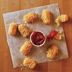 Baked Mozzarella Bites Recipe Lunch and Snacks, Appetizers with panko, mozzarella string cheese, egg substitute, cooking spray, marinara sauce