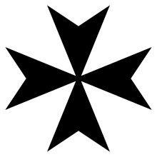 Maltese Cross: The eight points are said to symbolize the Eight Points of Courage: Loyalty, Piety, Generosity,  Bravery, Glory and honor, Contempt of death, Helpfulness towards the poor and the sick  Respect for the church. Currently the symbol for the Sovereign Military Order of Malta. SMOM was preceded by Knights Hospitalier and then Knights of Malta