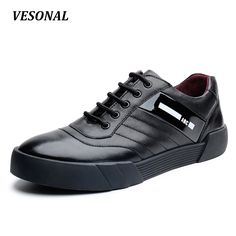 VESONAL Low Top 100% Luxury Genuine Leather Men Shoes Fashion Letter Mens Shoes Casual Designer High Quality Black Red SD6218