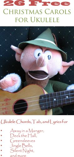26 Christmas carols for ukulele with chord diagrams, tablature, and lyrics. View the music at http://ukulelechristmassongs.com/