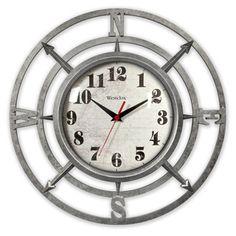 "Westclox 14""Metallic Finish Compass Wall Clock"