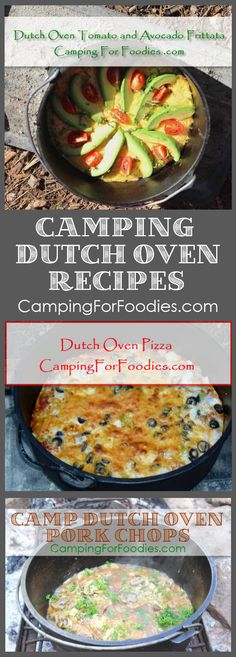 No camping trip is complete without great food! Cooking for two? Or a crowd? We've got outdoor camp meals that can be cooked in cast iron Dutch ovens using charcoal briquettes or tripods and grates over campfires. You'll love our fun and easy Dutch oven r Dutch Oven Pizza, Dutch Oven Camping, Dutch Ovens, Dutch Oven Pork Chops, Make Ahead Meals, Easy Meals, Camping 2, Outdoor Camping, Camping Snacks
