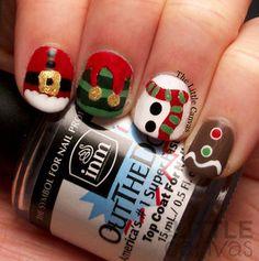 Santa, Elf, Snowman, and Gingerbread man!  http://www.thelittlecanvas.com/2013/12/a-festive-christmas-manicure.html