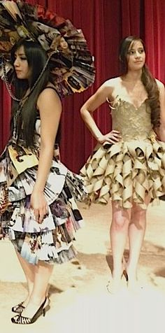 trashion show :) make clothing out of recycled goods- have a fashion show! (fundraiser?)