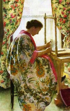 The Bookbinder (1905).Marie Danforth Page (American, 1869-1940). Page primarily painted portraits, children, figures and genre scenes. She attended the Boston Museum School and painted in the 'classical style' working in oil and watercolor. She was quite popular and successful in her time. She painted many portraits of Harvard professors which still reside at the university.