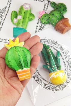 cactus magnet for office or home decorative magnet by gumcrackkids