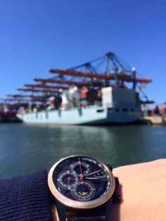 Rotterdam harbour with my Maurice de Mauriac watch. Click here for more of our watches: http://mauricedemauriac.ch/  men's watches, watches for men, Swiss luxury watches