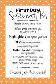 New Job Survival Kit, Survival Kit Gifts, School Survival Kits, Survival Kit For Teachers, College Survival, New Teachers, Survival Prepping, Survival Supplies, Survival Skills