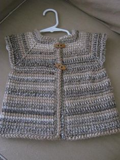 Crochet Girl Sleeveless Baby Sweater Vest by ForBabyCreations, Hate the colour, love the shape. Crochet Flower Patterns, Baby Patterns, Knit Patterns, Crochet Baby Cardigan, Crochet Baby Clothes, Crochet Girls, Crochet For Kids, Knitting For Kids, Baby Knitting