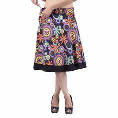 Women Black Rajasthani Multicolored Wrap Around Skirt Knee Length IWUS Cotton Skirt, Cotton Fabric, Wrap Around Skirt, Sexy, Skirts, How To Wear, Beautiful, Black, Design