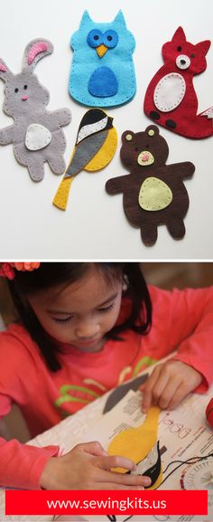 Easy Sewing Projects For Beginners |  Your next play date or birthday party will be a huge hit when you break out the Woodland Animals arts and crafts sewing kit. Kids adore making these cute & colorful animals. Easy to follow instructions and all the necessary supplies are included. SHOP http://sewingkits.myshopify.com/products/woodland-friends-craft-kit  | Easy DIY Kids Sewing Crafts Kits | Felt Projects
