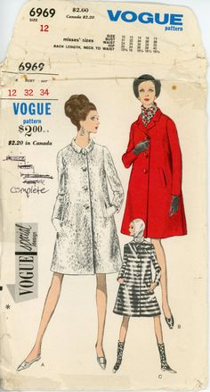 Vogue 6969 Misses 1960s Coat Pattern Classic A Line Day or Evening Coat Three Neckline Options Womens Vintage Sewing Pattern Bust 32. $18.00, via Etsy.