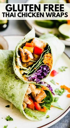 These gluten free Thai chicken wraps are perfect for meal planning and lunch or for a grab and go. They are easy to make, healthy, and absolutely delicious. The creamy cashew butter dipping sauce is so yummy, and the grilled chicken thighs inside the wraps are succulent and juicy. #glutenfree #thaichickenwraps #healthyrecipes #dairyfree #movementmenu Supper Meals, Supper Recipes, Lunch Recipes, Breakfast Recipes, Dairy Free Recipes For Kids, Best Gluten Free Recipes, Gluten Free Appetizers, Gluten Free Snacks, Sin Gluten