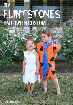 DIY Fred and Wilma Flintstone Costume | You can make both of these homemade Halloween costumes for less than $5. This Flintstones Costume DIY tutorial will have the whole block yelling, Yabba Dabba Dooooo!