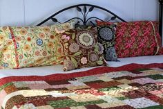 shades of spring green, chocolate brown, butter yellow, dusty rose Bed Ensemble, Come Undone, Yellow Print, Brown Butter, Pillow Forms, Quilt Bedding, Spring Green, Geometric Designs, Quilt Making