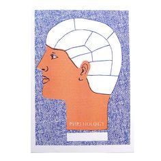 phrenology, head, lank, print, riso, risograph, science, illustration, gift, wall, art, louise lockhart