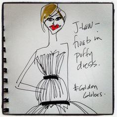 #JenniferLawrence #goldenglobes #illustration @blankstareblink