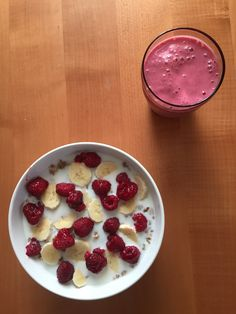 Healthy breakfast with raspberries ,bananas , and oats