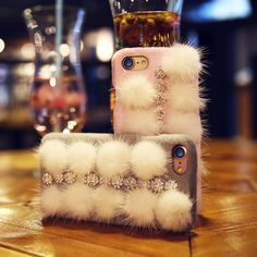For iPhone 7 7Plus Fluffy ball Plush Phone Cases 100% Real Fur Girly Bling Rhinestone Hard Case For iPhone 7Plus Back Cover Capa