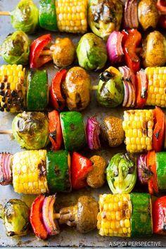 "Grilled Fajita Vegetable Skewers - A healthy vegetarian skewer recipe loaded with fresh summer veggies and ""fajita butter."" A fabulous side dish for picnics  *I omit the fajita seasoning packs and use my own seasoning."