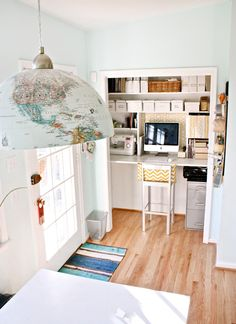 some version of an Office Nook - an office in a closet, maybe off the kitchen? computer, sewing machine.