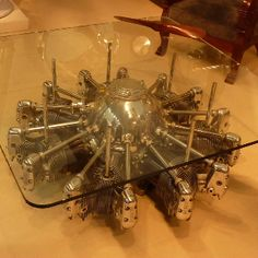 Airplane engine coffee table, cool conversation piece.