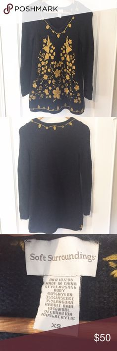 Soft Surroundings Navy Embroidered Sweater In Great Condition Soft Surroundings Sweaters Crew & Scoop Necks