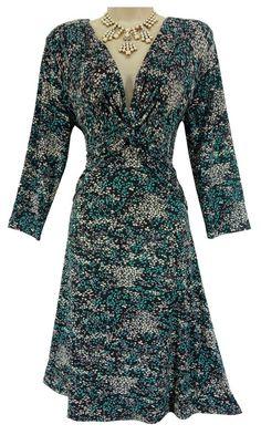 14 LARGE SEXY Womens CINCHED FLATTERING PRINT DRESS Day/Evening Fall Winter #dressbarn #CinchedDrapedFront #Versatile
