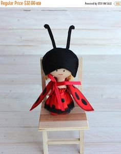 ON SALE Mini Doll ladybug Rag doll ladybird child by NatsDoll