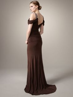 formal evening gown in chocolate