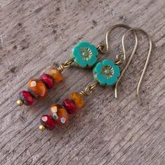 Boho Earrings - Hypoallergenic - Titanium Earrings - Autumn Colored Jewelry - Christmas Gift for Her - Dangle Earrings - Fall Leaf 2017 Small Earrings, Flower Earrings, Beaded Earrings, Earrings Handmade, Beaded Jewelry, Handmade Jewelry, Glass Jewelry, Jewlery, Rustic Jewelry