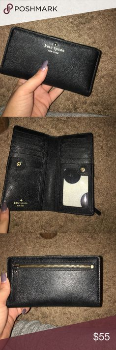Kate spade wallet Barely used Kate spade wallet. Room for 14 cards, 4 different sections for cash, and a zippered change section. kate spade Bags Wallets