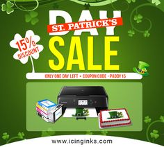 The Icinginks are offering you 15% #Discount on an #Order of #Canon #EdibleInkPrinterBundlePack on the #Occasion of St. Patrick's Day. Hurry up to buy the #printer until March 19, 2018. Only #OneDay Left, to avail the opportunity. USE #CouponCode PADDY 15 while shopping.