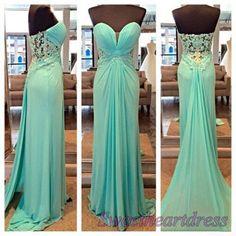 Beautiful sweetheart neck green lace chiffon long mermaid prom dress, formal…