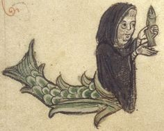 Medieval Bestiary : Mermaid Gallery Bodleian Library, MS. Bodley 532, Folio 26r. A merman, dressed as a monk, holds a fish.
