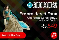 Shopclues #DealofTheDay is offering Half #Embroidered Faux #Georgette #Saree bff129 by Bhuwal Fashion Just at Rs.549. Gorgeous Saree look pretty like never before.wearing this Turquoise Color Saree which made from faux georgette.  http://www.paisebachaoindia.com/embroidered-faux-georgette-saree-bff129-by-bhuwal-fashion-at-rs-549-shopclues/