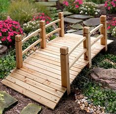 Garden Bridges - 5 Wood Plank Garden Bridge with Rails >>> Click image to review more details. (This is an Amazon affiliate link) Garden Bridge, Landscape Paintings, River, Outdoor Structures, Ideas, Beautiful, Thoughts, Rivers