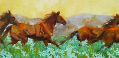 """Running Wild"" 12x24 oil by Connie Bryson - http://www.conniebrysonstudio.com/   #horses #horsepaintings #fineart"
