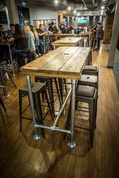 Breakfast Bar / High Table / Dining Table / Kitchen Island Industrial Modern Rustic Reclaimed Timber Wood Galvanised Steel Legs This is a made to orde High Table Kitchen, High Dining Table, Bar Tables, Patio Bar Table, High Tables, High Bar Table, Pipe Table, Console Tables, Reclaimed Timber