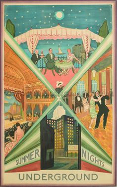 'Summer Nights, London Underground' by Vladimir Polunin (1880-1957). Original poster dated 1930. Conservation linen mounted and unframed. Published by Waterlow & Sons Limited, London.