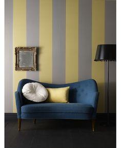 50-195 Graham & Brown Imperial: Gray & Mustard wallpaper Grey,Yellow Stripe Wallpaper